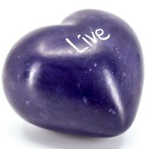 """Vaneal Group Hand Carved Soapstone 2-Sided Purple """"Live"""" Heart Paperweight image 4"""