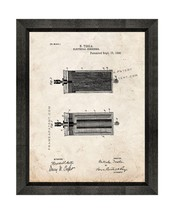 Tesla Electrical Condenser Patent Print Old Look with Beveled Wood Frame - $24.95+