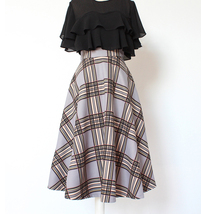 GRAY Plaid A Line Pleated Skirt High Waist Autumn Tea Length Midi Skirt US0-US20 image 1