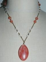 VTG NY Signed Gold Tone Pink Quartz Glass Pendant Crystal Bead Necklace - $22.28