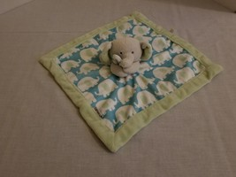 Carters Elephant Security Blanket Lovey Turquoise Aqua Blue Green & Gray - $15.73 CAD