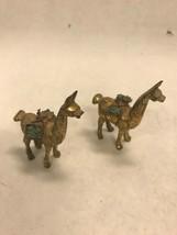 Vintage brass Pair mini ALPACA carrying  tourquise stone LLAMA 2.5 inch ... - $46.52