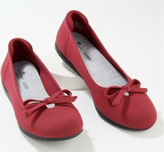 CLOUDSTEPPERS Clarks Washable Knit Bow Flats Carly Hope Rhubarb 7M NEW A... - $42.55