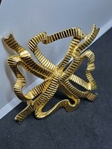 Vintage Retro Gold Tone Monet Ribbon Pin Brooch Large Size Women Jewelry - $14.85