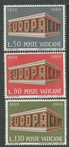 1969 Europa Set of 3 Vatican City Postage Stamps Catalog Number 470-72 MNH