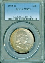 1958-D SILVER FRANKLIN HALF DOLLAR PCGS MS65 TONED COIN IN HIGH GRADE - $55.43