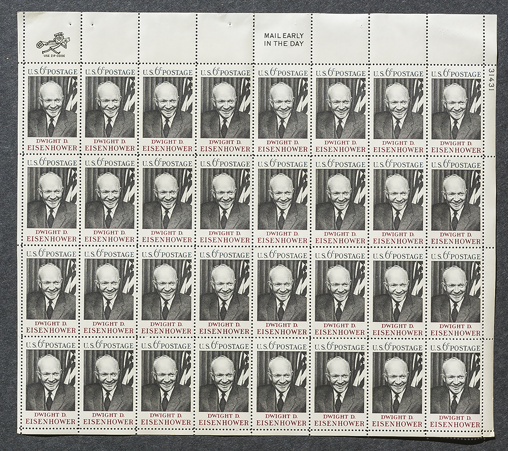 Dwight D. Eisenhower, Sheet of 6 cent stamps, 32 stamps