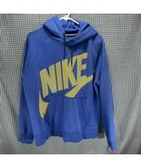 Nike Logo Spellout Blue Hoodie Sweatshirt Men's Size Large  - $19.79