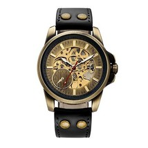 SHENHUA 2018 Vintage Bronze Watch Steampunk Skeleton Mechanical Male Clo... - $41.07