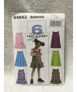 BUTTERICK SEWING PATTERN 4842 JUMPERS EASY  GIRLS SIZES 1 2 3   UNCUT - $7.91