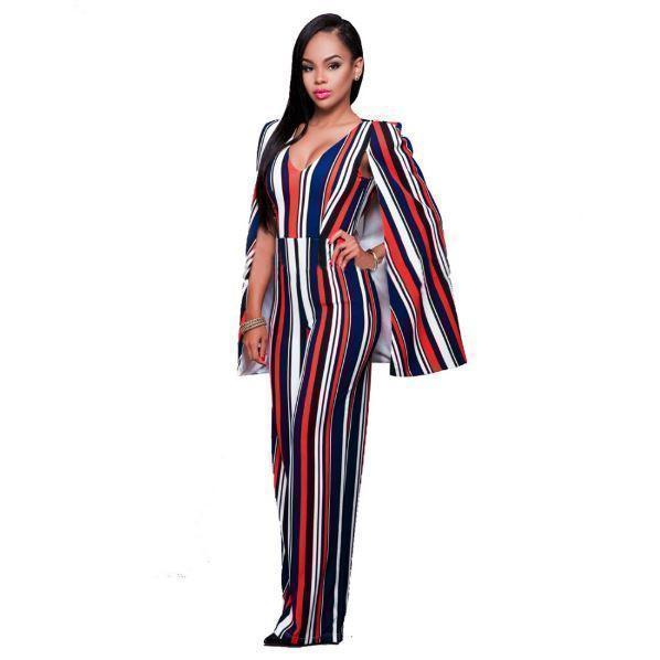 Striped Wide Leg Cape Cloak Women Overall Jumpsuit