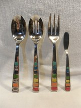 Fiesta Masquerade Rainbow Colored 4 Piece Stainless Steel Hostess Servin... - $10.95