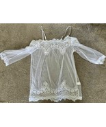 sexy see through White Lace Top-off shoulder,-perfect for beach/festival... - $20.58