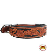 Hilason Heavy Duty Genuine Leather Dog Collar Padded Tan W/ Black U-C111 - £17.24 GBP+