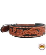Hilason Heavy Duty Genuine Leather Dog Collar Padded Tan W/ Black U-C111 - £16.91 GBP+