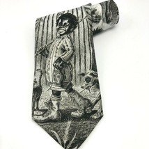 1994 Ralph Marlin Buckwheat Necktie Mens Black White Polyester Made in USA 59L - $18.69