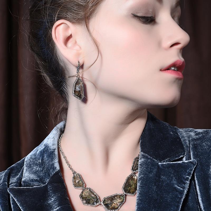 Ed01468b 2018 new antique shell brown resin geometry drop earrings for women gift 2