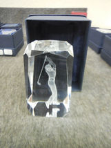 "3-D LASER ETCHED 3"" x 2"" CRYSTAL GLASS CUBE GOLFER  image 4"