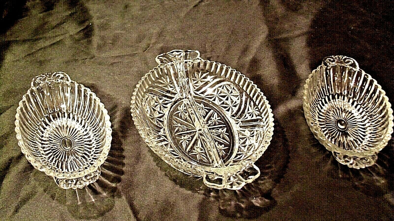 Heavy Etched Cut Glass Relish Tray and Two small Serving Trays AA20-CD0058 Vinta