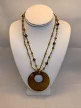 Vintage Amber Beaded Necklace W/Large Shell Pendant (1958) - $15.00