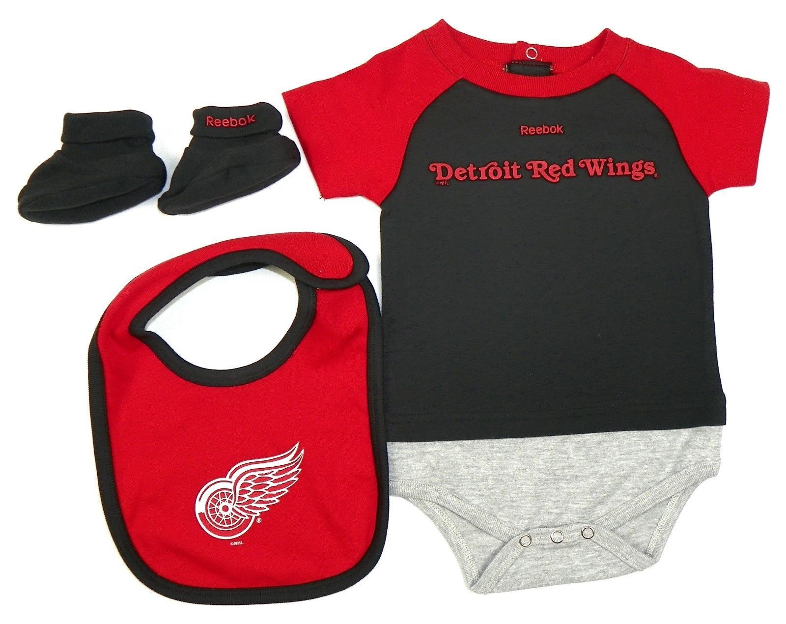 12M Detroit Red Wings Infant Lil Jersey Bodysuit Bib Booties 3-Piece NHL Baby