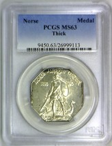 1925 Norse American Centennial Silver Medal PCGS MS-63; Thick Variety - $395.99