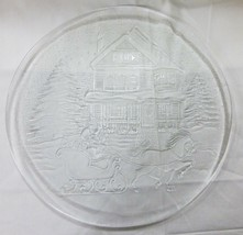 Vintage Christmas platter clear glass home decor house tree snow carriage - $12.83