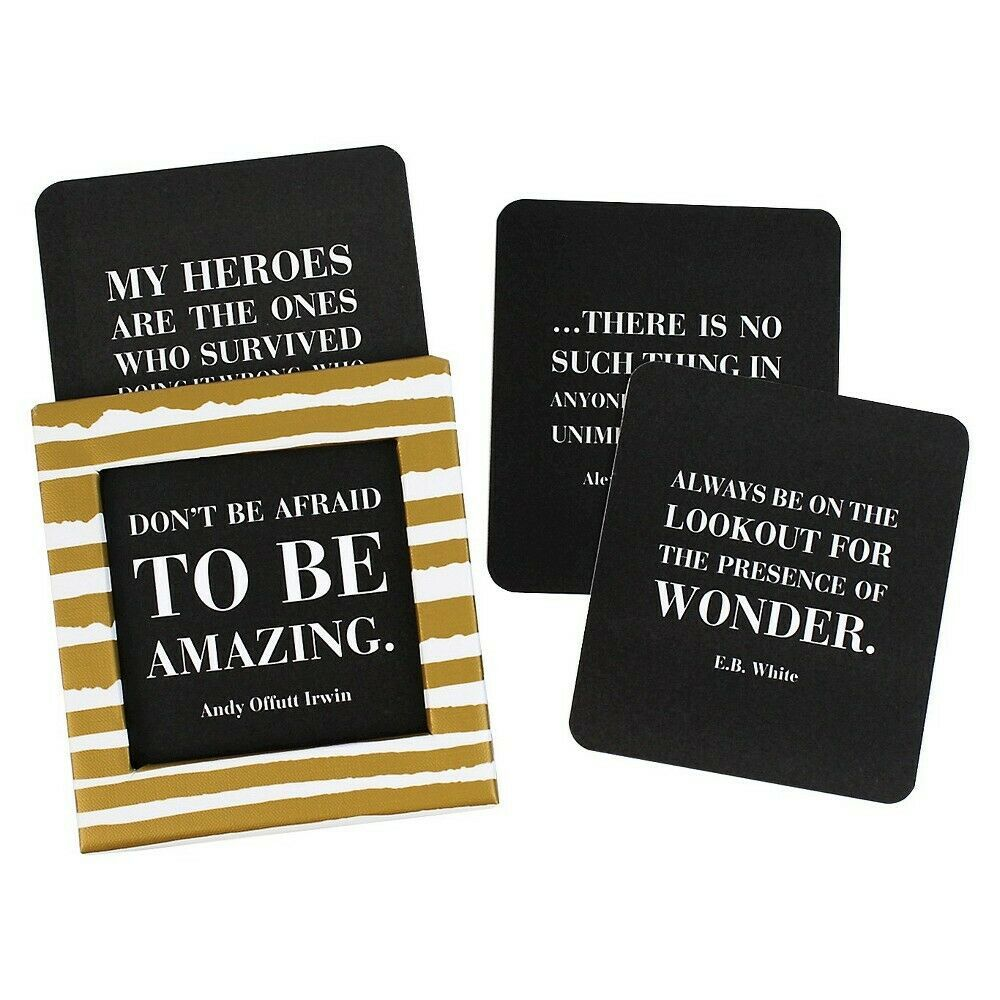 Daily Inspirational Quotes Black Cards Gold Print Boxed Set Desk Accessory NEW