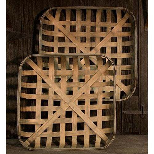 Primary image for TOBACCO BASKETS ~ SQUARE~ FARMHOUSE / PRIMITIVE BASKETS ~SeT of 2 ~