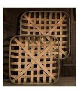 TOBACCO BASKETS ~ SQUARE~ FARMHOUSE / PRIMITIVE BASKETS ~SeT of 2 ~ - $56.95