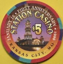 $5 Casino Chip, Station Casino, Kansas City, MO. 1st Anniversary 1998. S67. - $6.50