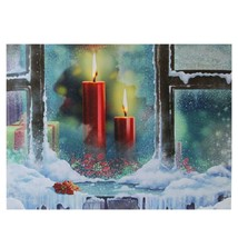 "Northlight LED Snowy Window Pane Candles Christmas Canvas Wall Art 12"" x... - $11.62"