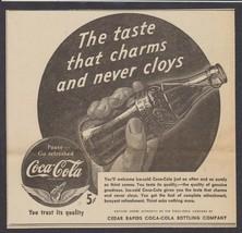 1942 Cedar Rapids IA Coca Cola Newsp Ad THE TASTE THAT CHARMS - Lg. Bott... - $8.78
