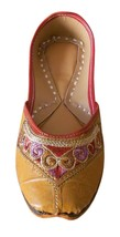 Women Shoes Traditional Indian Handmade Leather Brown Casual Mojari US 6.5 - $24.99