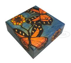 Butterfly & Flowers Box Polish Handmade Wood Keepsake Butterfly Kids Jew... - $32.66