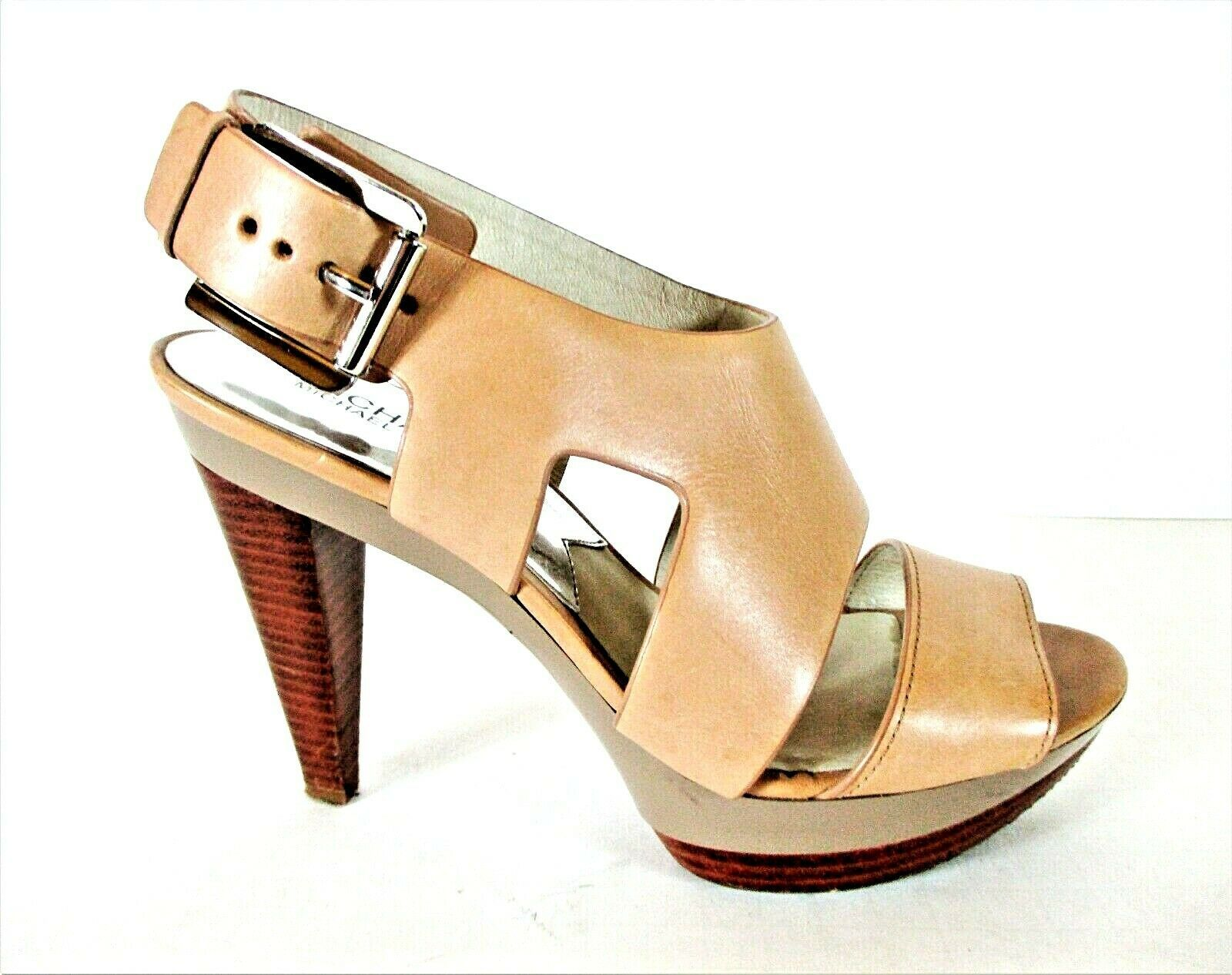 Primary image for Michael Kors Beige Leather Platform Heels Sandals Shoes Women's 8 1/2 M (SW15)