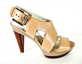 Michael Kors Beige Leather Platform Heels Sandals Shoes Women's 8 1/2 M (SW15) - $98.99