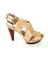 Michael Kors Beige Leather Platform Heels Sandals Shoes Women's 8 1/2 M ... - $98.99