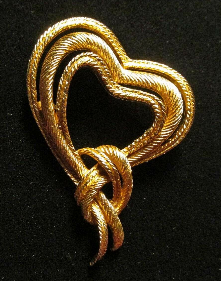 Primary image for Crown Trifari Trifanium Heart Knot Pin Brooch  ca 1950 - A Ballroom Altar Find
