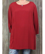 New J Jill Blouse 4x size Dark Red Tunic Top Womens Carrer Casual Shirt ... - $59.40