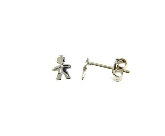 18K WHITE GOLD EARRINGS SMALL FLAT BOY, SHINY, SMOOTH, 5mm, MADE IN ITALY