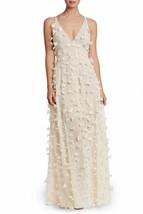 Dress The Population Fleur Plunge-Neck Floral Appliques Gown SZ M ($298)... - $94.12