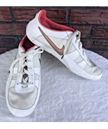 White Pink Nike Size 8.5 Bronze/Gold Tennis Shoes Trainers Swoosh Unique... - $29.70