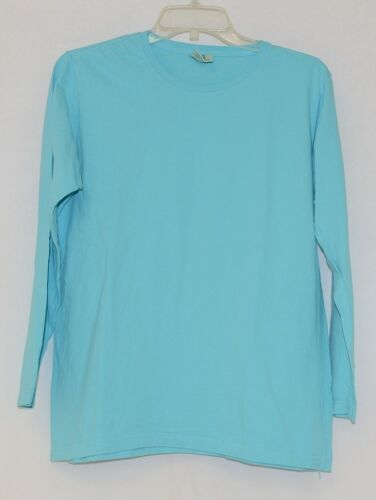 Comfort Colors Turquoise Womens Long Sleeve Cotton T Shirt Size Large