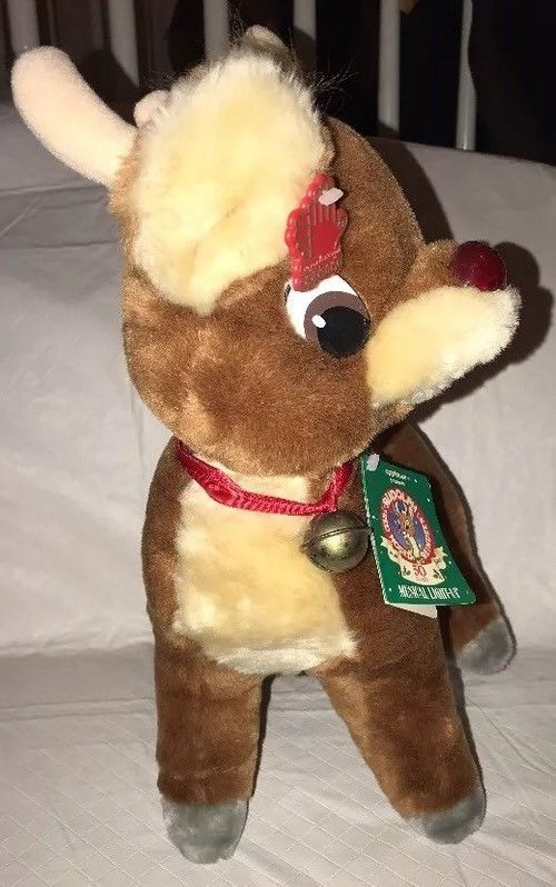 Applause Stuffed Plush Christmas Rudolph Red Nosed Reindeer 50th Aniversary 1989