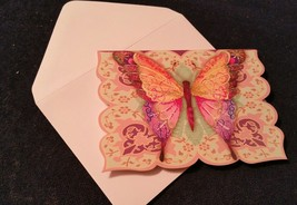 """1-Punch Studio blank Card-colorful butterfly -3.5""""x 5""""-WHITE envelope  - $2.25"""