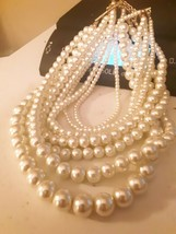 Vintage  8 Strand Faux Pearl Torsade Choker Necklace Gold Tone - - $38.60