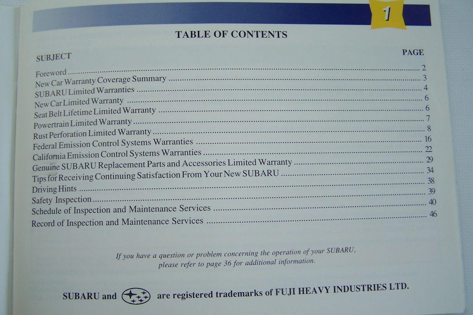 2003 subaru forester legacy impreza wrx owners maintenance schedule warranty