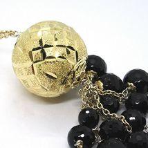 Halskette Silber 925, Gelb, Groß Kugel Strick, Wasserfall Onyx Schwarz image 7