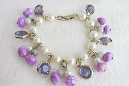 Vintag Faceted Purple Crystals Art Glass Beads Faux Pearls Charm Bracelet - $8.63